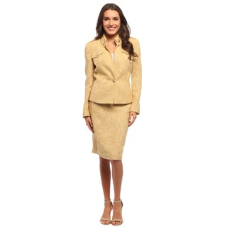 Sharagano Suits Women's Yellow Metallic Weave Skirt Suit
