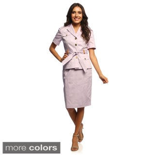 Sharagano Suits Women's Stretch Cotton Skirt Suit