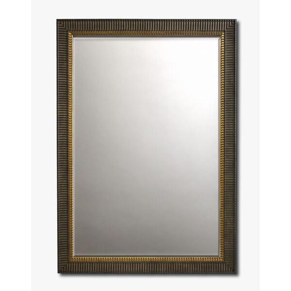 Large Scalloped Mahogany Framed Beveled Wall Mirror