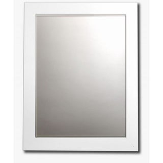 White Satin Framed Beveled Wall Mirror