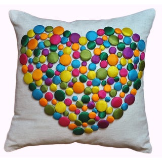 Button Heart 12x12-inch Decorative Pillow