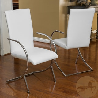 Christopher Knight Home Lydia White Leather/ Chrome Chairs (Set of 2)