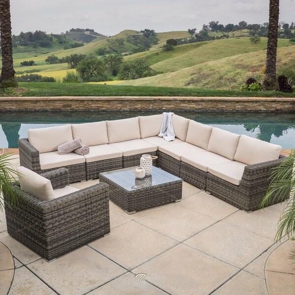 Christopher Knight Home Santa Rosa 9-piece Outdoor Sofa Sectional Set ...