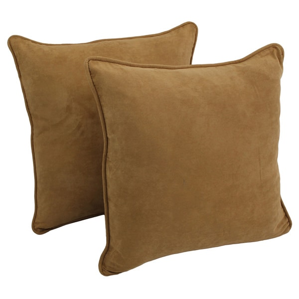 Blazing Needles Neutral 25-inch Corded Microsuede Floor Pillow and Inserts (Set of 2)