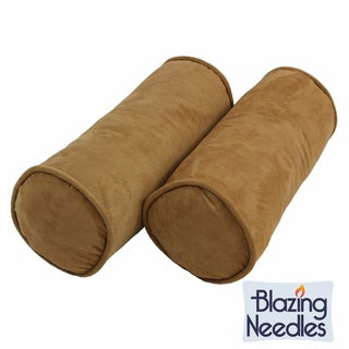 Blazing Needles Neutral 8 x 20-inch Corded Microsuede Bolster Pillow and Inserts (Set of 2)