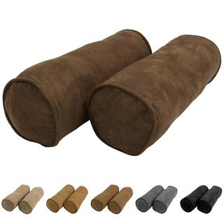 Blazing Needles Neutral 8 x 20-inch Corded Microsuede Bolster Pillow (Set of 2)