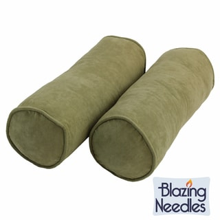 Blazing Needles Earthtone 8 x 20-inch Corded Microsuede Bolster Pillow and Inserts (Set of 2)
