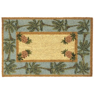Pineapple and Palm Tree Coir Doormat