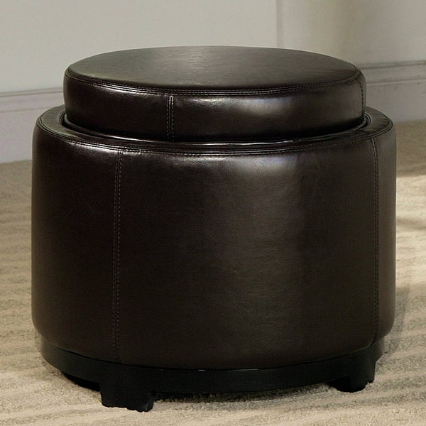 Abbyson Living Hudson Brown Leather Tray Ottoman