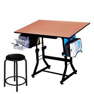 Offex 'Ashley' Black Drafting and Hobby Craft Table with Stool