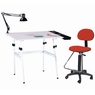 Offex Berkeley 4-piece White/ Red Drafting Table Set