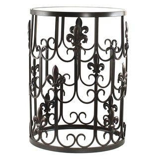 'Fleur-de-Lis' Metal Barrel End Table