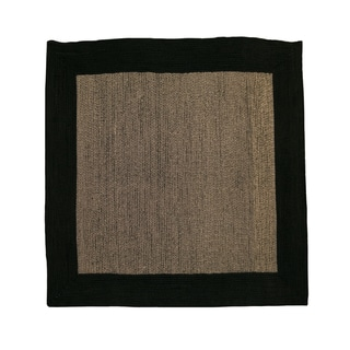 Donegal Square Indoor/ Outdoor Braided Black Rug (6' Square)