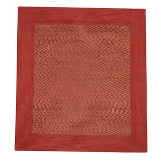 Donegal Square Indoor/ Outdoor Braided Red Rug (6' Square)
