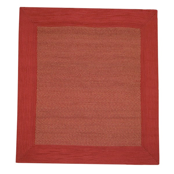 Border Tweed Square Indoor / Outdoor Braided Red Rug (6' Square)