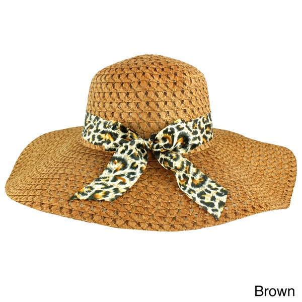 Faddism Women's Animal Print Bow Straw Hat