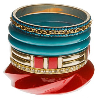 Turquoise/ Red Crystal-accented Bangle Set (India)