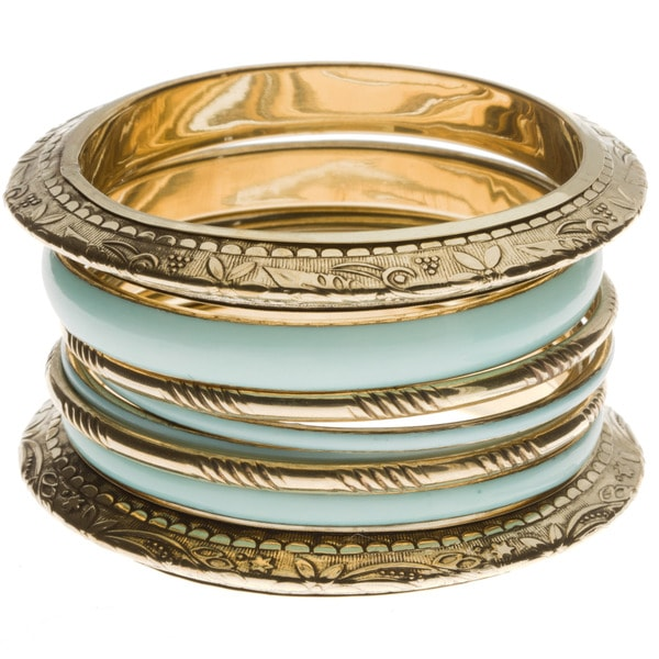 Mint Green/ Antiqued Metal Bangle (India)