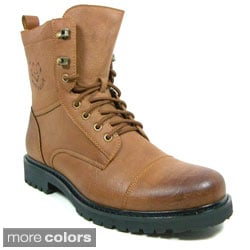 Polar Fox Men's Mid-calf Leatherette Military Lace-up Boots