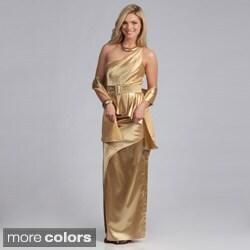 Stanzino Women's One Shoulder Belted Peplum Gown