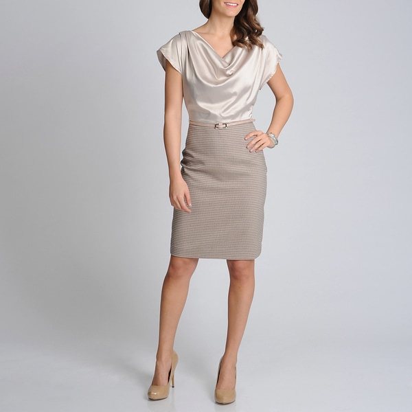 Sharagano Noir Women's Taupe Satin Draped Neck Career Dress