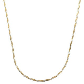 Fremada Two-tone Gold over Silver 1.3-mm Wave Square Snake Necklace