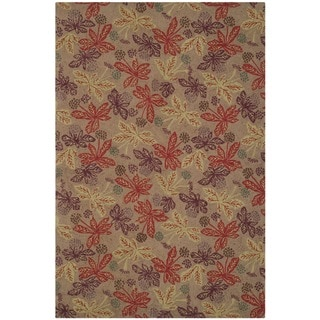 Martha Stewart Meadow Crimson/ Clover Wool Rug (3'9 x 5'9)