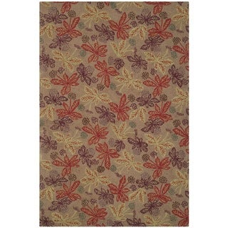 Martha Stewart Meadow Crimson/ Clover Wool Rug (3'9 x 5'9)