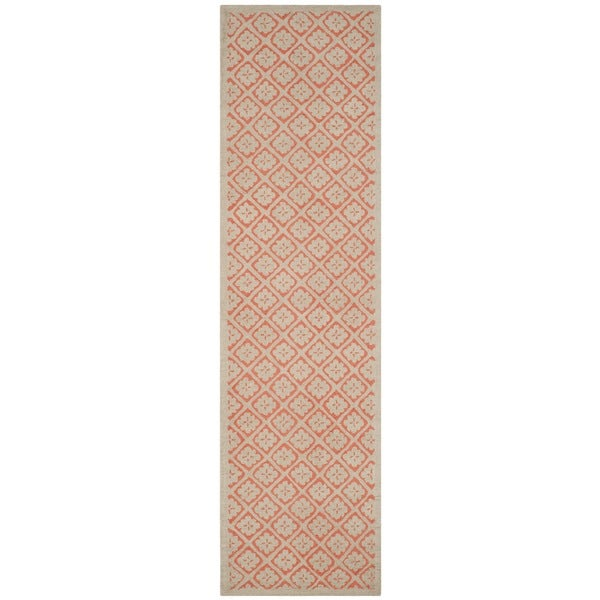 Martha Stewart Blossom Lattice Quince Blossem Red Wool Rug (2'3 x 8'6)