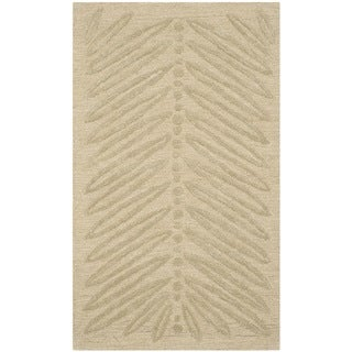 Martha Stewart Chevron Leaves Oolong Tea Green Wool/ Viscose Rug (2'6 x 4'3)