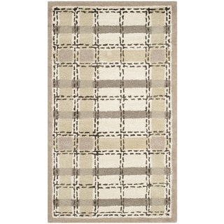 Martha Stewart Colorweave Plaid Sharkey Grey Wool/ Viscose Rug (2'6 x 4'3)