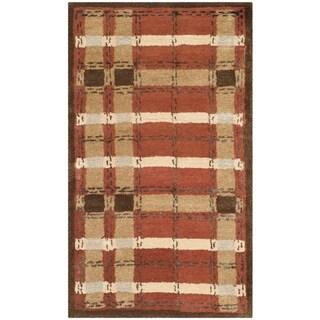 Martha Stewart Colorweave Plaid October Leaf Red Wool/ Viscose Rug (2'6 x 4'3)