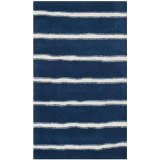 Martha Stewart Chalk Stripe Wrought Iron Navy Wool/ Viscose Rug (3'x 5')