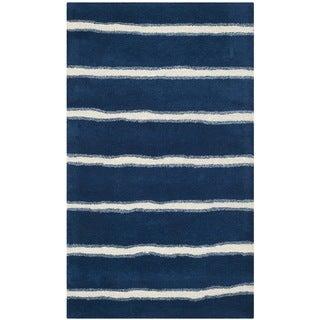 Martha Stewart Chalk Stripe Wrought Iron Navy Wool/ Viscose Rug (3'x 5')