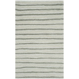 Martha Stewart Hand Drawn Stripe Nmbus Cloud Grey Wool/ Viscose Rug (2'6 x 4'3)