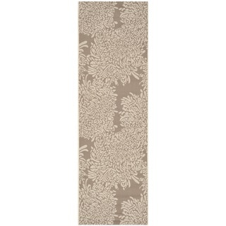 Martha Stewart Chrysanthemum Dark Beige/ Beige Indoor/ Outdoor Rug (2'7 x 8'2)