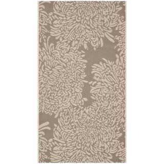 Martha Stewart Chrysanthemum Dark Beige/ Beige Indoor/ Outdoor Rug (4'x 5'7)
