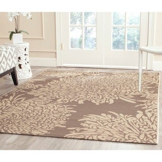 Martha Stewart Chrysanthemum Dark Beige/ Beige Indoor/ Outdoor Rug (4'x 5'7)