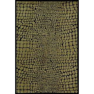 Martha Stewart Amazonia Crocodile/ Green Silk Blend Rug (7'9 x 9'9)