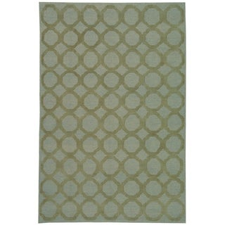 Martha Stewart Quatrefoil Blue/ Maize Silk/ Wool Rug (7'9 x 9'9)