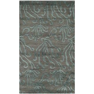 Martha Stewart Seaflora Lagoon Silk/ Wool Rug (3'9 x 5'9)