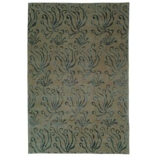 Martha Stewart Seaflora Lagoon Silk/ Wool Rug (7'9 x 9'9)