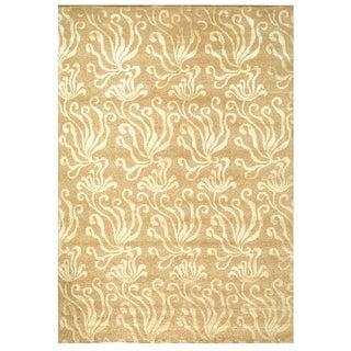 Martha Stewart Seaflora Sand Silk/ Wool Rug (8'6 x 11'6)