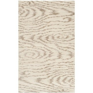 Martha Stewart Faux Bois White Birch Silk/ Wool Rug (2'6 x 4'3)