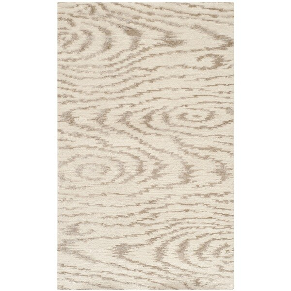 Martha Stewart Faux Bois White Birch Silk/ Wool Rug (2'6 x 4'3)