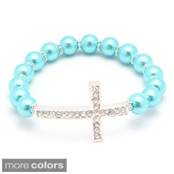Horizontal Cross and Pearl Stretch Bracelet
