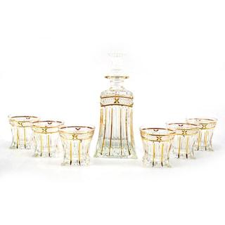 Seven-Piece Clear Glass Bottle and Shot Glass Liquor Set