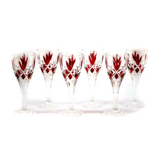 Deep Red Detailed Liquor Glasses (Set of 6)