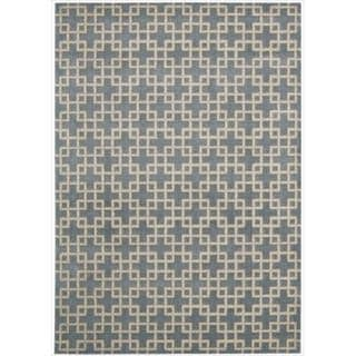 Kailash Box and Cross Print Blue Rug (7'9 x 10'10)