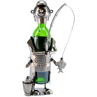 Wine Caddy Fisherman With Pail Wine Bottle Holder